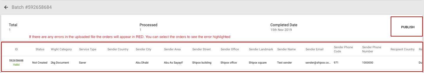 Uploading orders through CSV