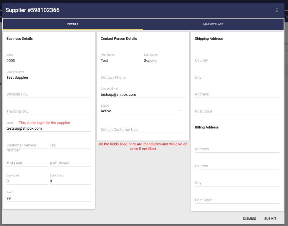 Creating a Supplier and supplier user