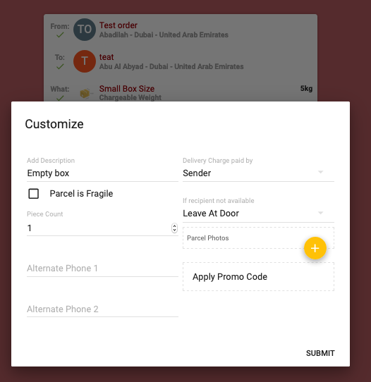 Single order creation - Customer back-end