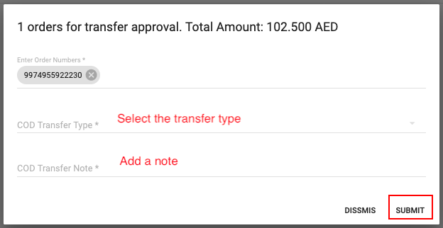 COD Transfers